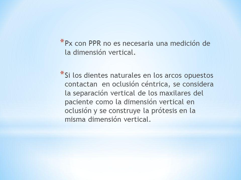Px con PPR no es necesaria una medición de la dimensión vertical.