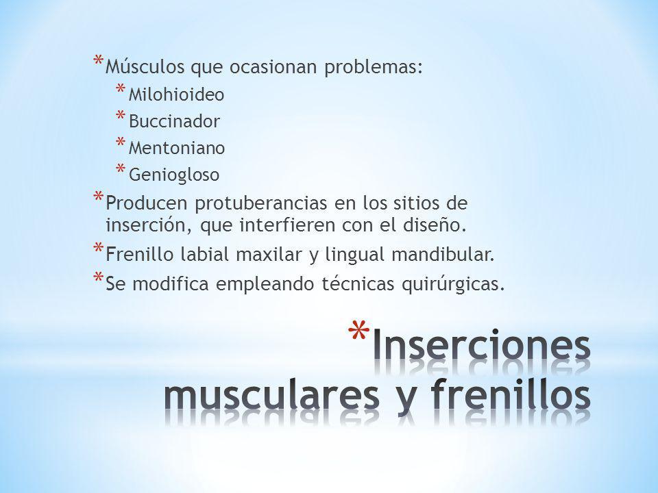 Inserciones musculares y frenillos