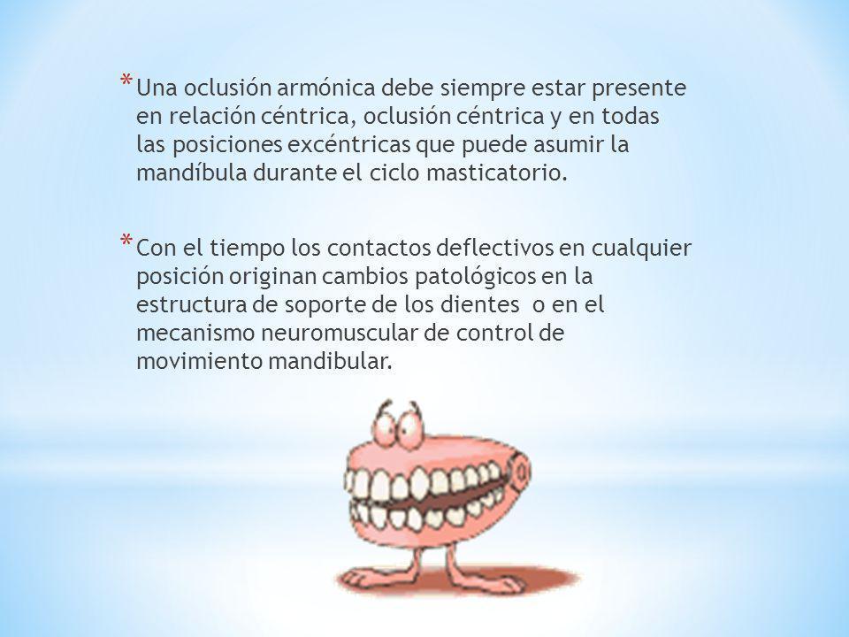 Una oclusión armónica debe siempre estar presente en relación céntrica, oclusión céntrica y en todas las posiciones excéntricas que puede asumir la mandíbula durante el ciclo masticatorio.