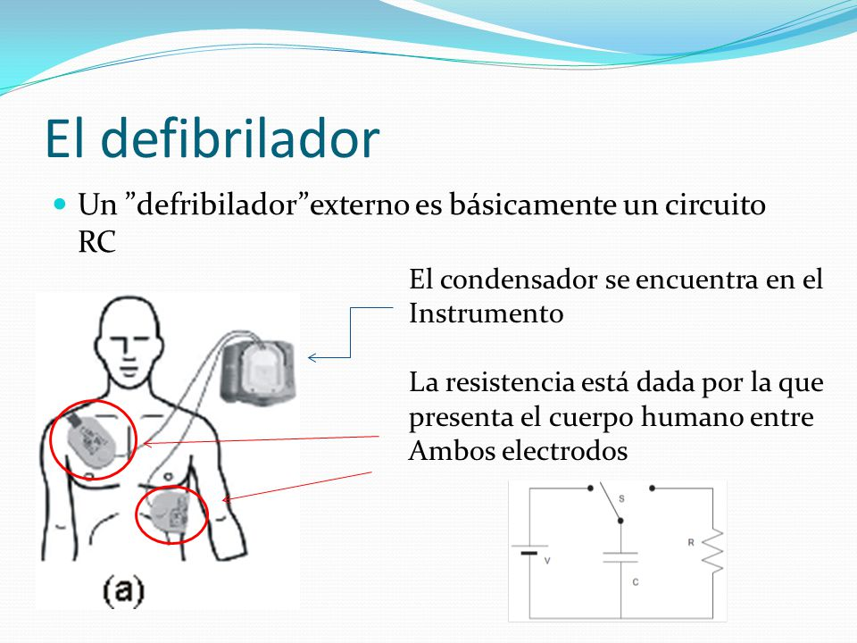El defibrilador Un defribilador externo es básicamente un circuito RC