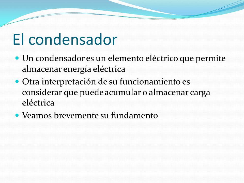El condensador Un condensador es un elemento eléctrico que permite almacenar energía eléctrica.
