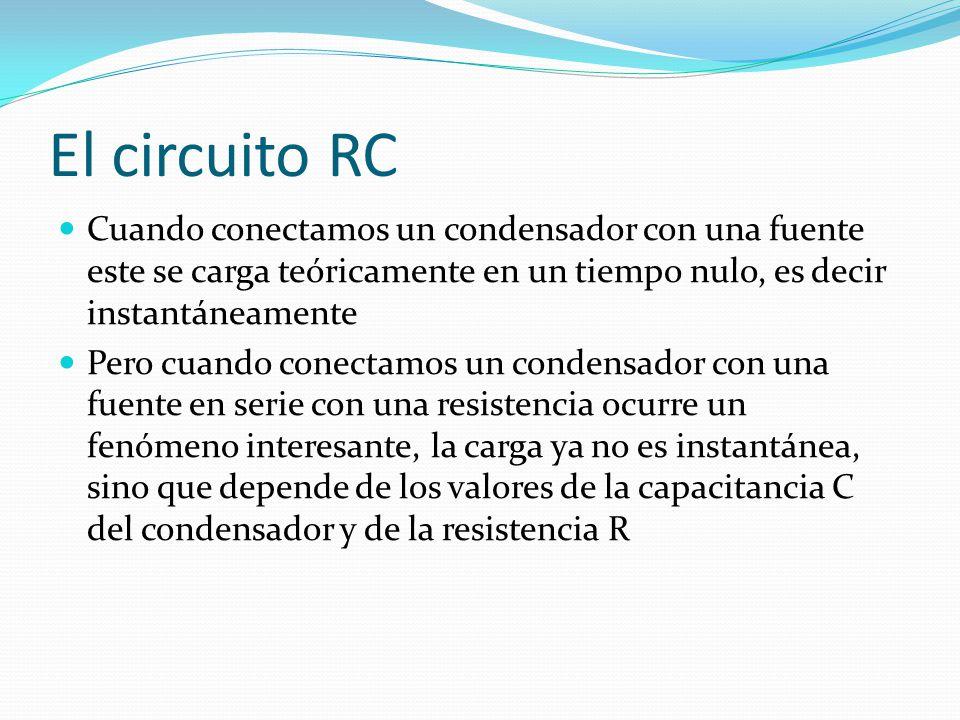 El circuito RC Cuando conectamos un condensador con una fuente este se carga teóricamente en un tiempo nulo, es decir instantáneamente.