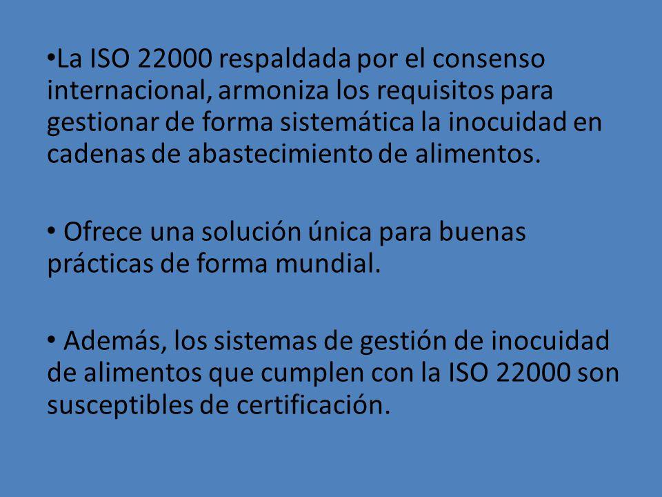 La ISO 22000 respaldada por el consenso internacional, armoniza los requisitos para gestionar de forma sistemática la inocuidad en cadenas de abastecimiento de alimentos.
