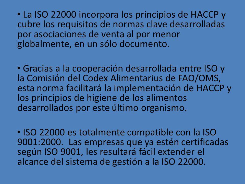 La ISO 22000 incorpora los principios de HACCP y cubre los requisitos de normas clave desarrolladas por asociaciones de venta al por menor globalmente, en un sólo documento.