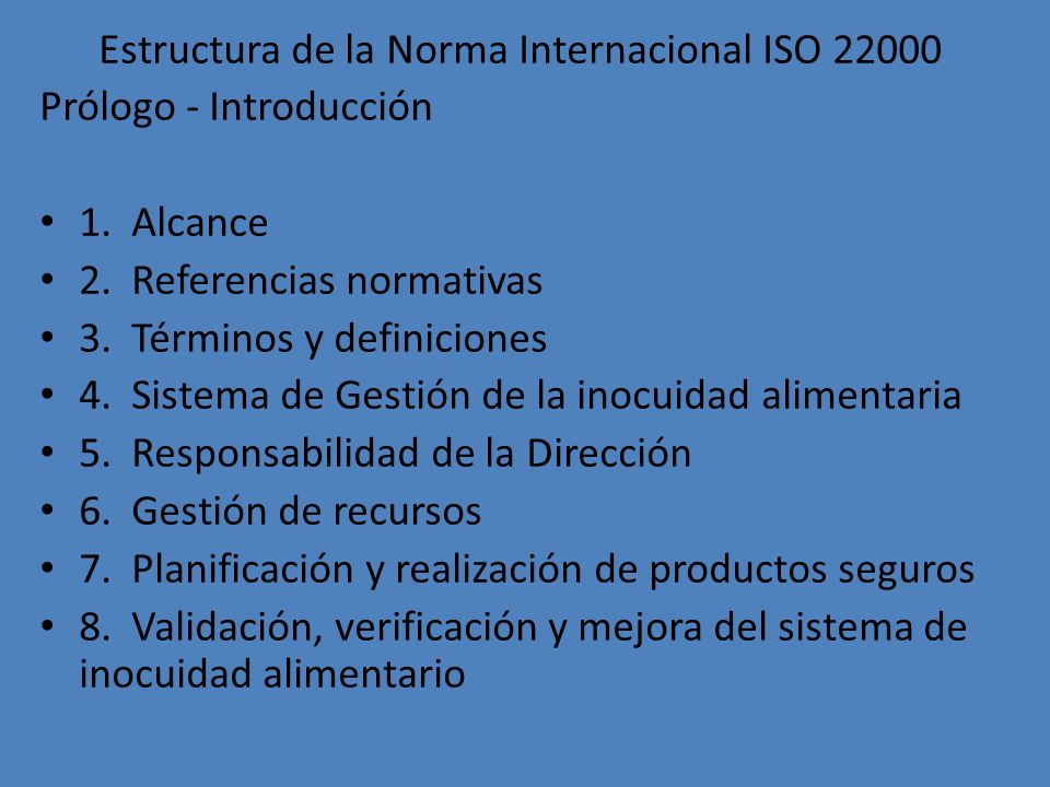 Estructura de la Norma Internacional ISO 22000