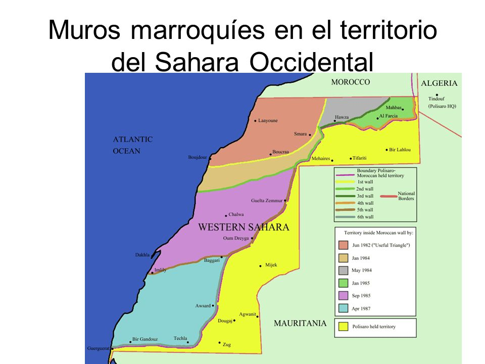 Muros marroquíes en el territorio del Sahara Occidental