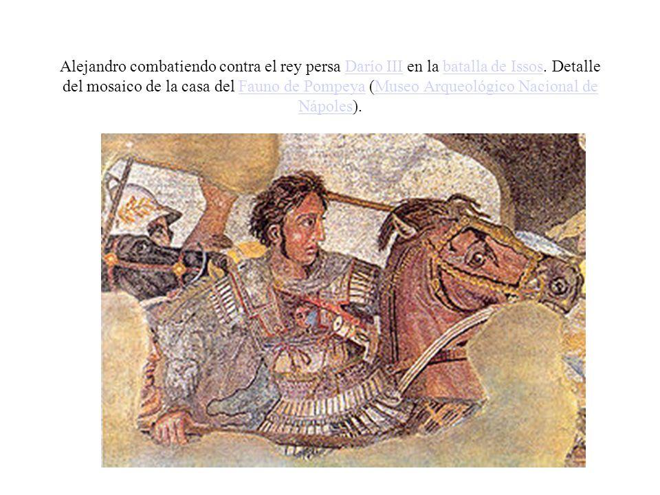 Alejandro combatiendo contra el rey persa Darío III en la batalla de Issos.