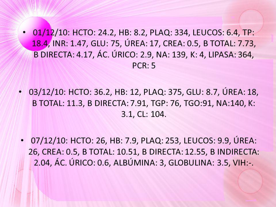 01/12/10: HCTO: 24. 2, HB: 8. 2, PLAQ: 334, LEUCOS: 6. 4, TP: 18