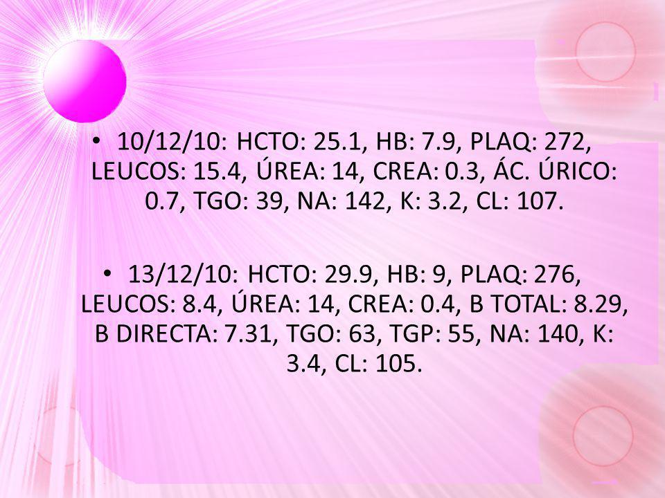 10/12/10: HCTO: 25. 1, HB: 7. 9, PLAQ: 272, LEUCOS: 15