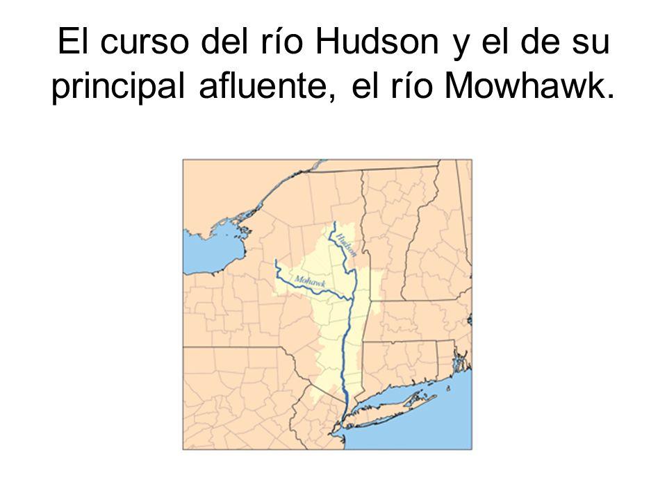 El curso del río Hudson y el de su principal afluente, el río Mowhawk.