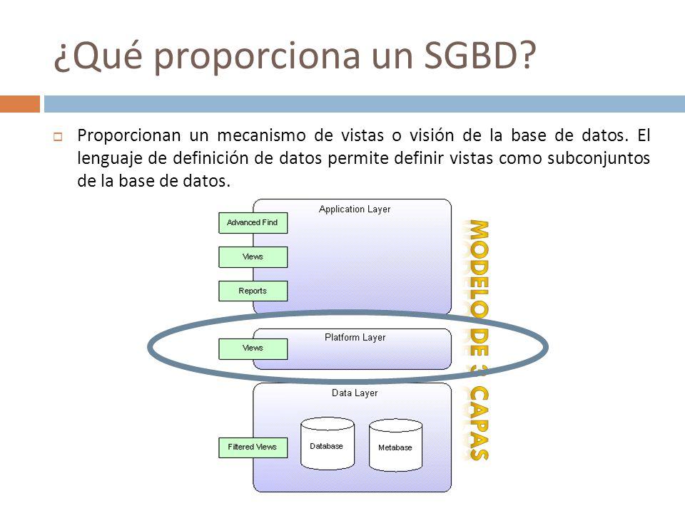 ¿Qué proporciona un SGBD