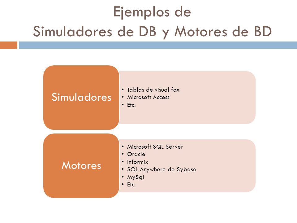 Ejemplos de Simuladores de DB y Motores de BD