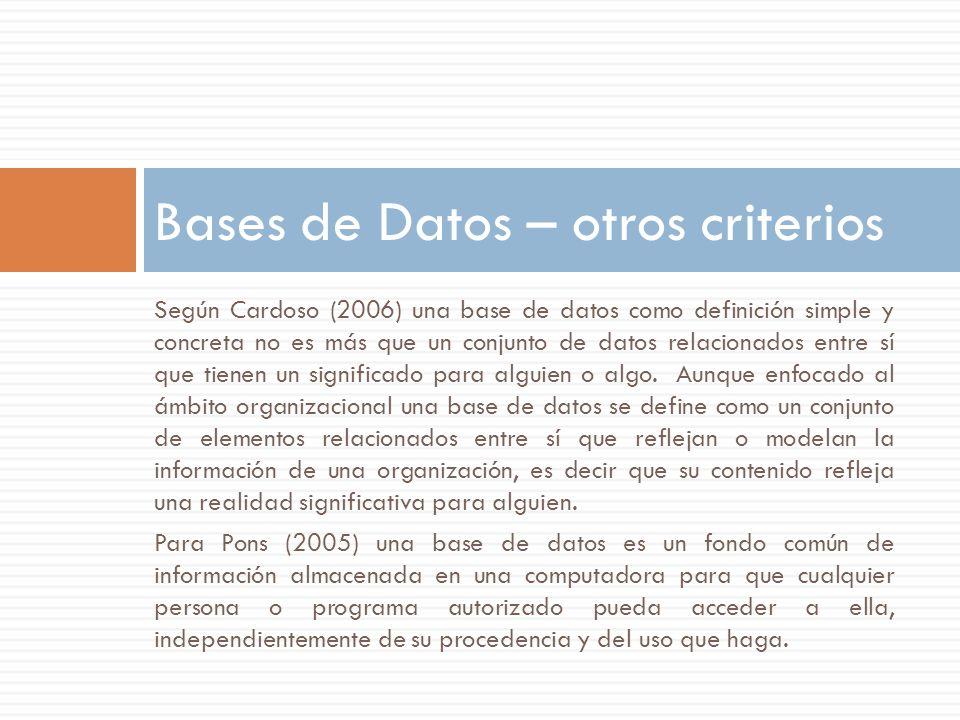 Bases de Datos – otros criterios