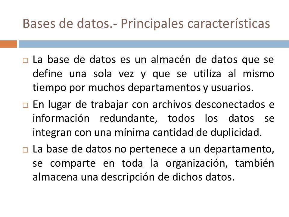 Bases de datos.- Principales características