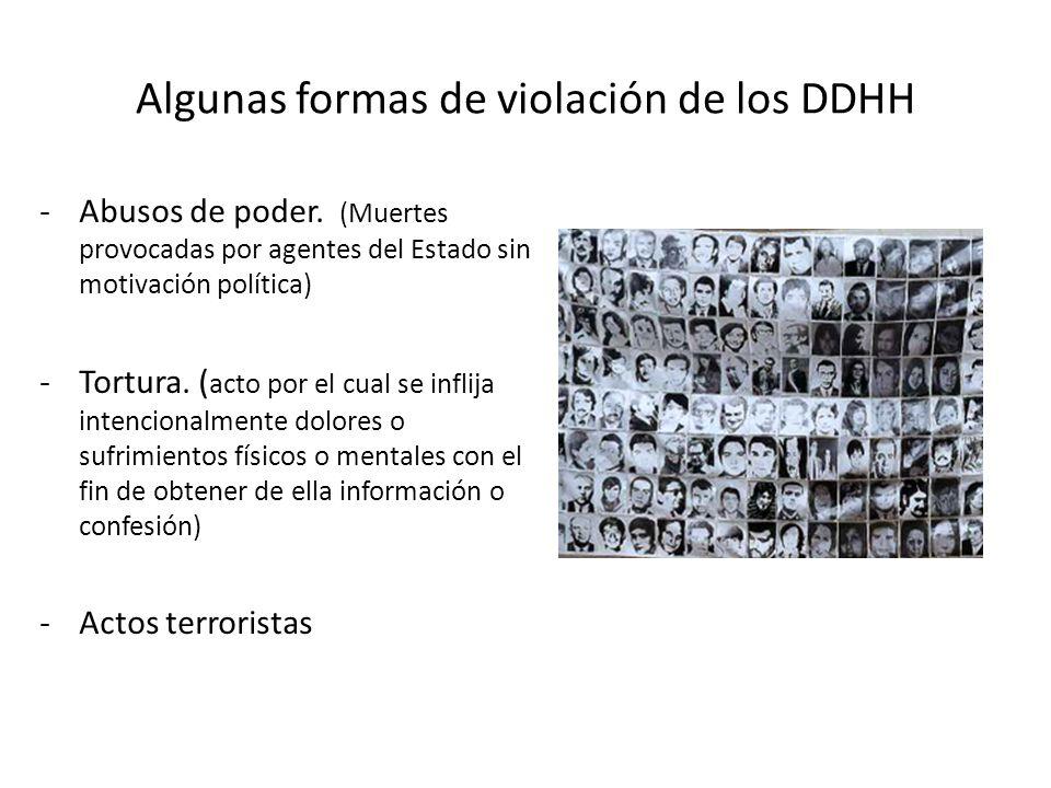Algunas formas de violación de los DDHH