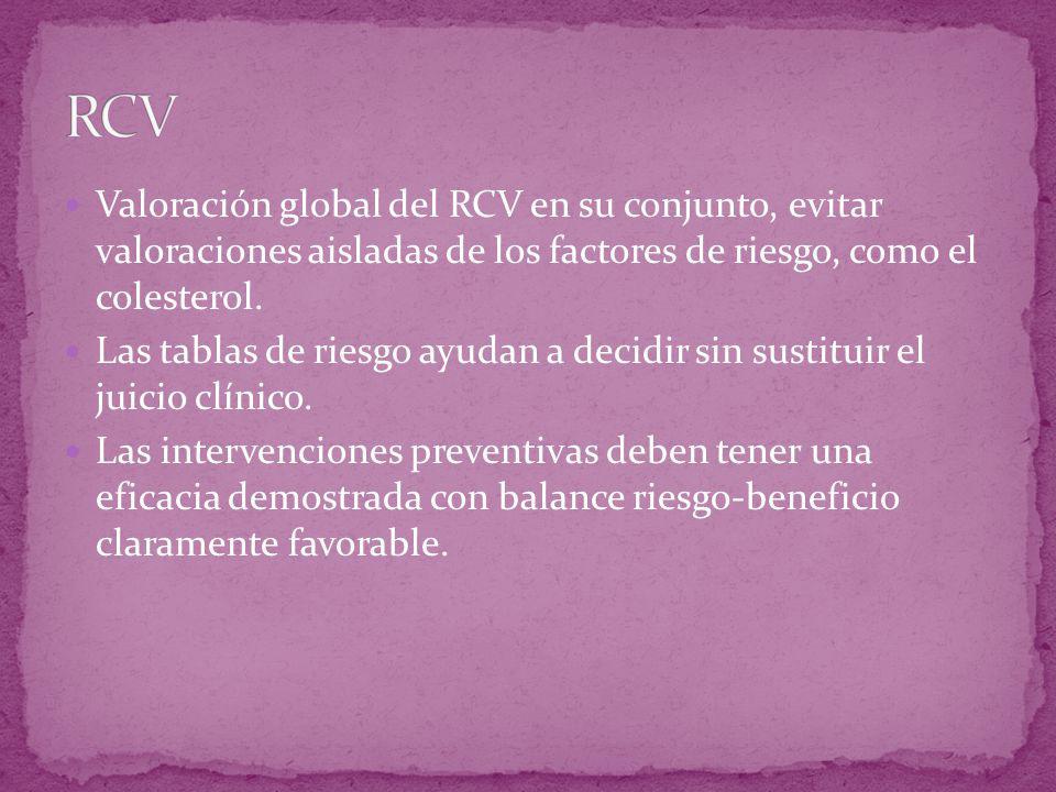 RCV Valoración global del RCV en su conjunto, evitar valoraciones aisladas de los factores de riesgo, como el colesterol.
