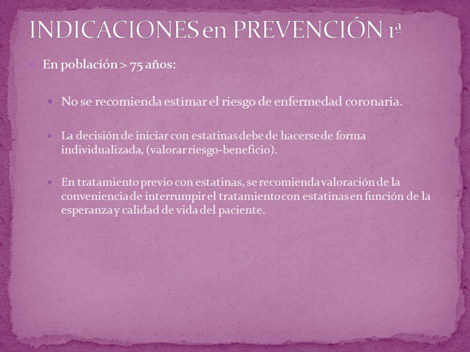 INDICACIONES en PREVENCIÓN 1ª