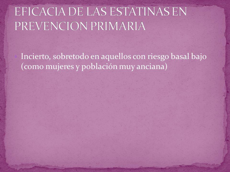 EFICACIA DE LAS ESTATINAS EN PREVENCION PRIMARIA