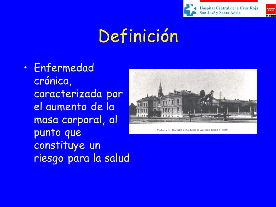 Definición Enfermedad crónica, caracterizada por el aumento de la masa corporal, al punto que constituye un riesgo para la salud.