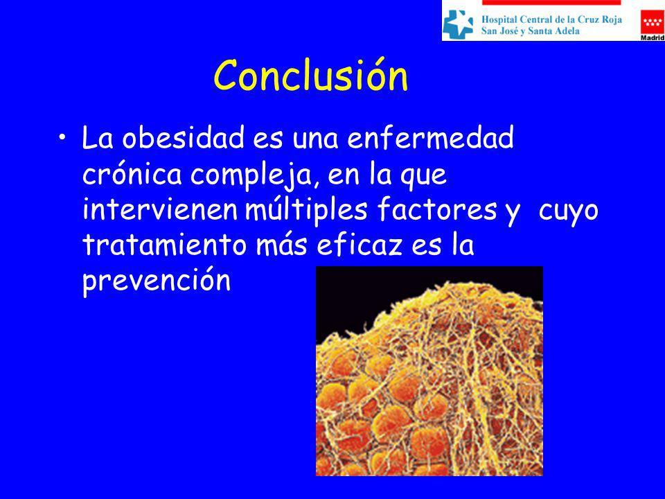 Conclusión La obesidad es una enfermedad crónica compleja, en la que intervienen múltiples factores y cuyo tratamiento más eficaz es la prevención.