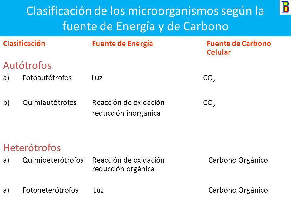 Clasificación de los microorganismos según la fuente de Energía y de Carbono