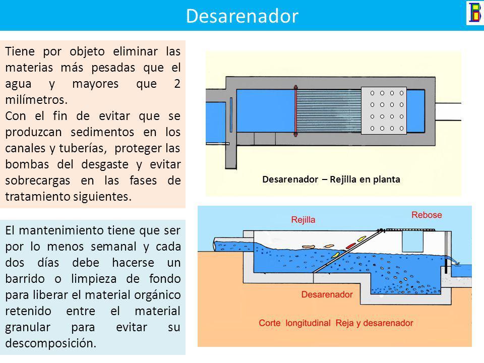 Desarenador Tiene por objeto eliminar las materias más pesadas que el agua y mayores que 2 milímetros.