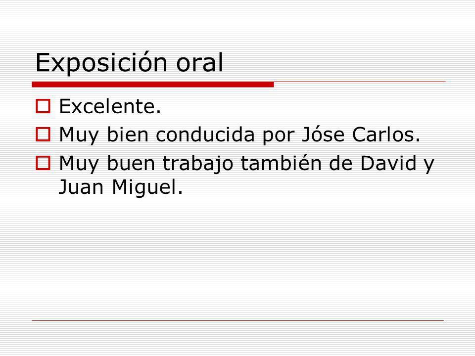Exposición oral Excelente. Muy bien conducida por Jóse Carlos.