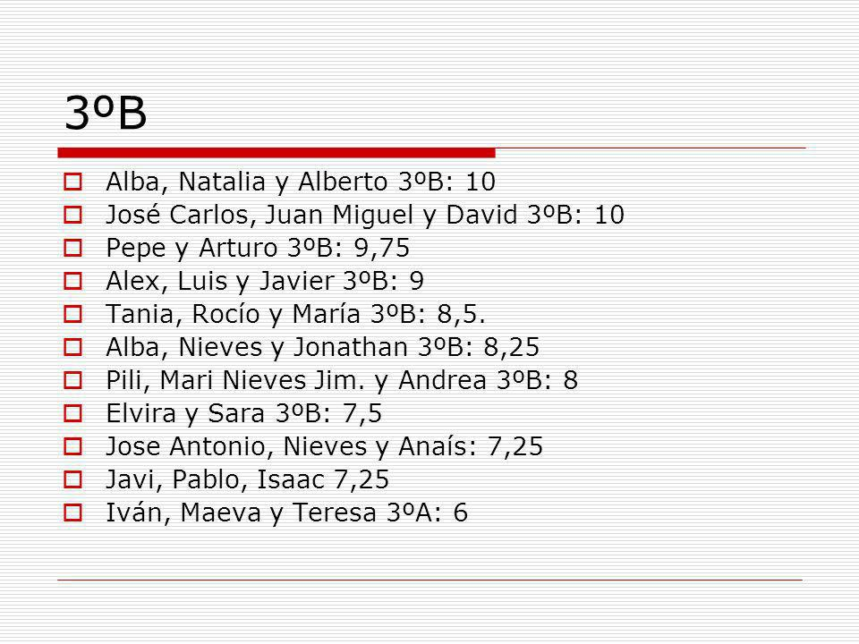 3ºB Alba, Natalia y Alberto 3ºB: 10