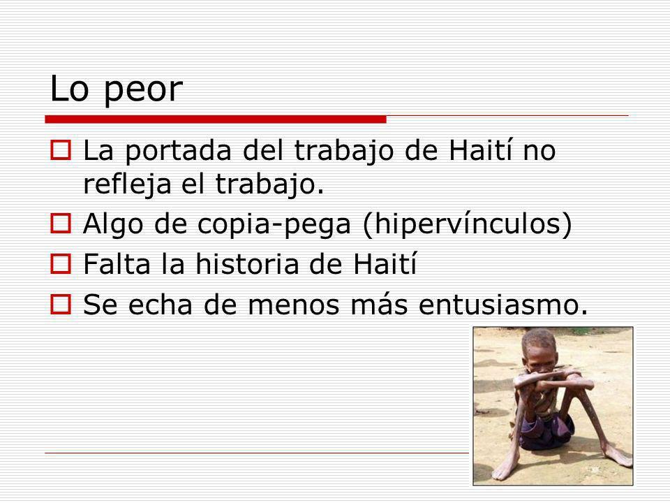 Lo peor La portada del trabajo de Haití no refleja el trabajo.