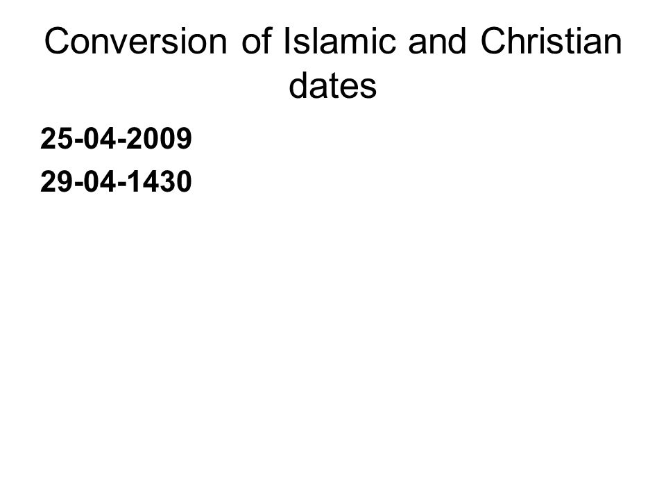 Conversion of Islamic and Christian dates