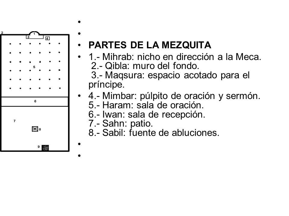 PARTES DE LA MEZQUITA. 1.- Mihrab: nicho en dirección a la Meca. 2.- Qibla: muro del fondo. 3.- Maqsura: espacio acotado para el príncipe.