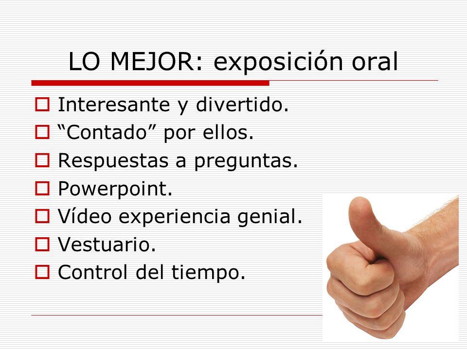 LO MEJOR: exposición oral