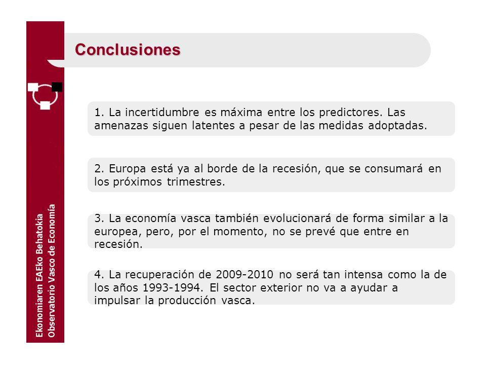 Conclusiones 1. La incertidumbre es máxima entre los predictores. Las amenazas siguen latentes a pesar de las medidas adoptadas.