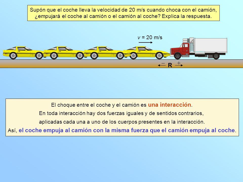 Supón que el coche lleva la velocidad de 20 m/s cuando choca con el camión,