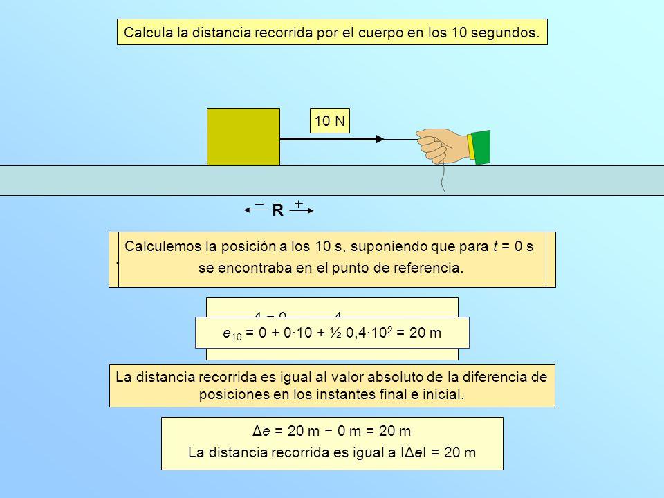 R Calcula la distancia recorrida por el cuerpo en los 10 segundos.