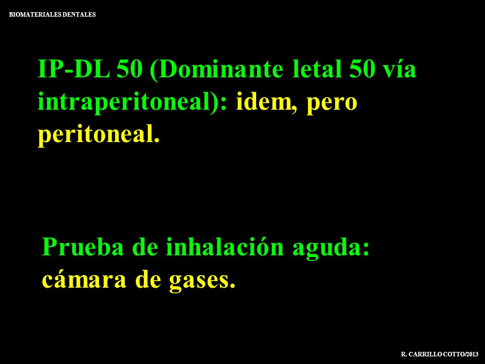 Prueba de inhalación aguda: cámara de gases.