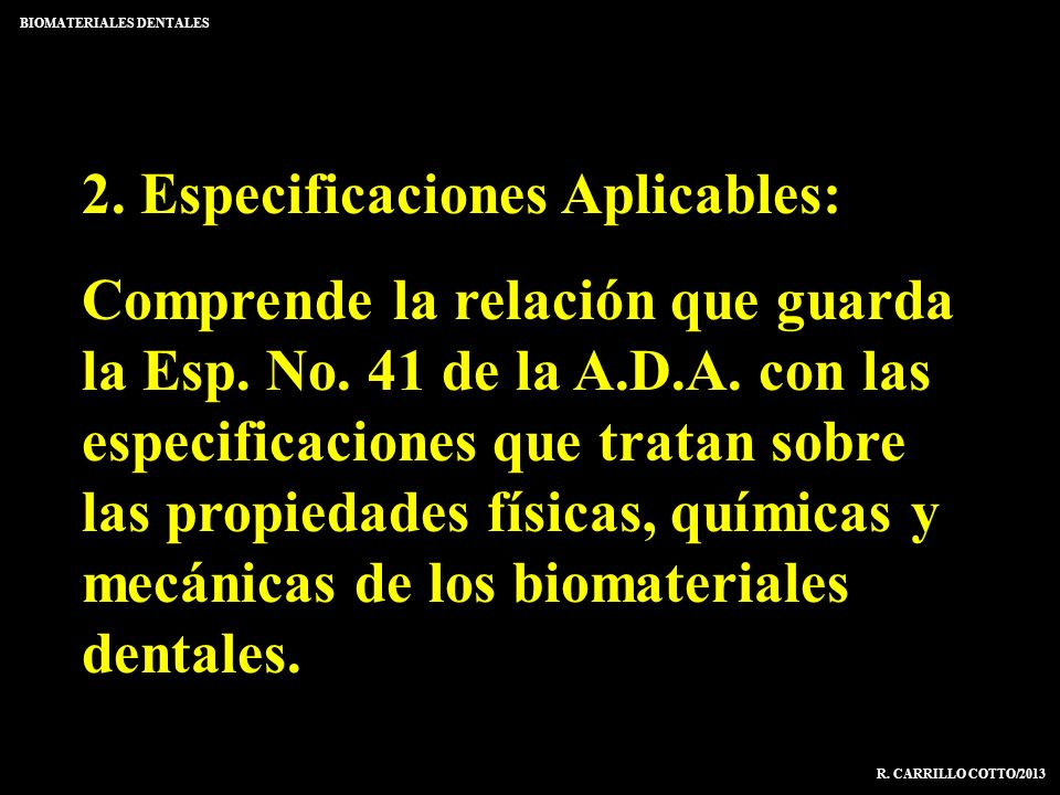 2. Especificaciones Aplicables: