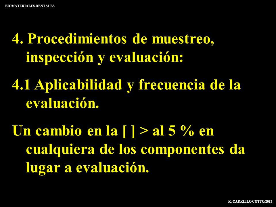 4. Procedimientos de muestreo, inspección y evaluación: