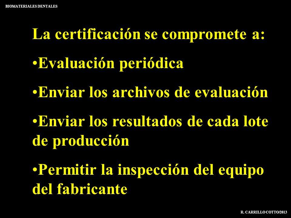 La certificación se compromete a: Evaluación periódica