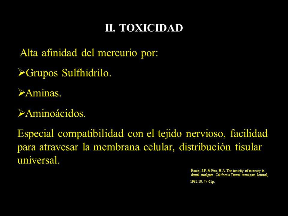 II. TOXICIDAD Grupos Sulfhidrilo. Aminas. Aminoácidos.