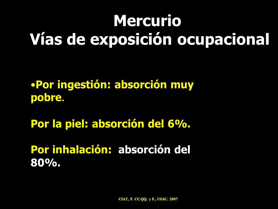 Mercurio Vías de exposición ocupacional