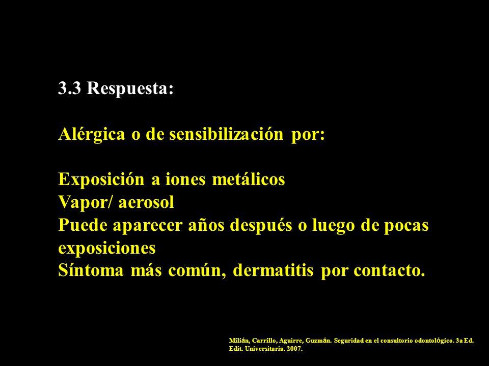 Alérgica o de sensibilización por: Exposición a iones metálicos