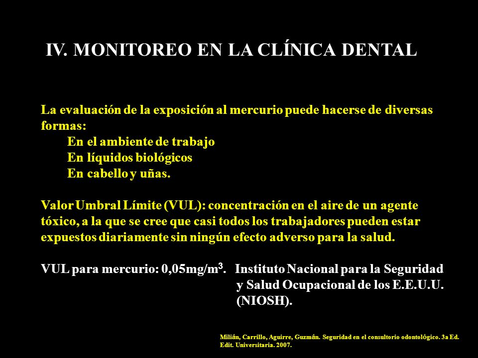 IV. MONITOREO EN LA CLÍNICA DENTAL