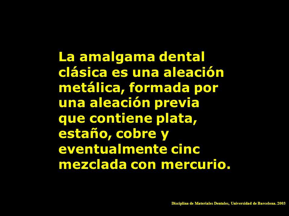 La amalgama dental clásica es una aleación metálica, formada por una aleación previa