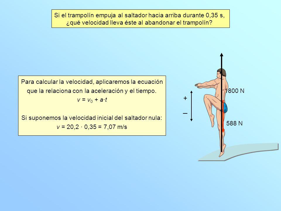+ Si el trampolín empuja al saltador hacia arriba durante 0,35 s,