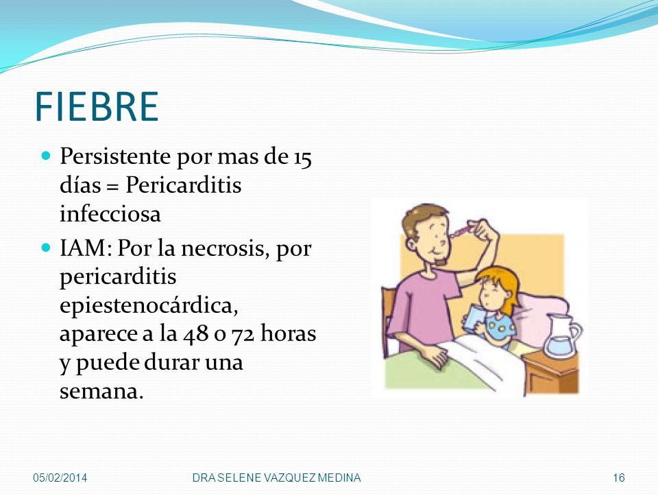 FIEBRE Persistente por mas de 15 días = Pericarditis infecciosa