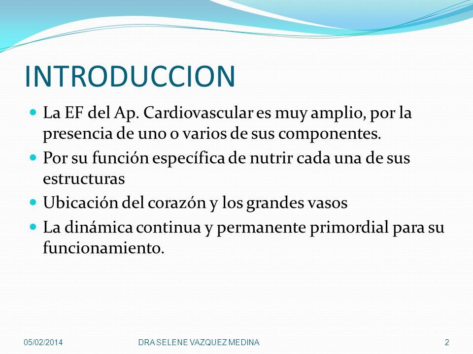 INTRODUCCION La EF del Ap. Cardiovascular es muy amplio, por la presencia de uno o varios de sus componentes.
