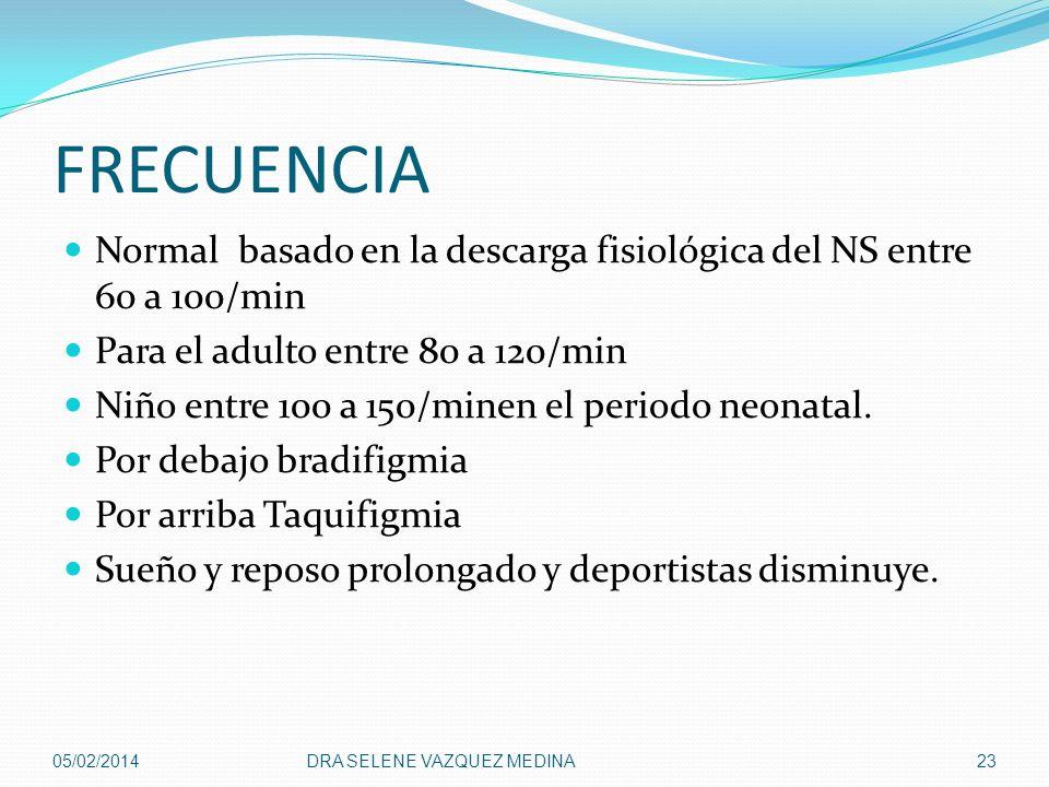 FRECUENCIA Normal basado en la descarga fisiológica del NS entre 60 a 100/min. Para el adulto entre 80 a 120/min.