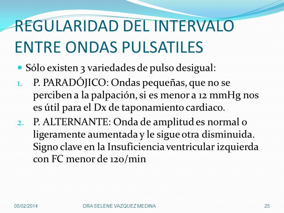 REGULARIDAD DEL INTERVALO ENTRE ONDAS PULSATILES