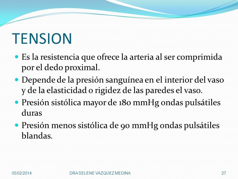 TENSION Es la resistencia que ofrece la arteria al ser comprimida por el dedo proximal.